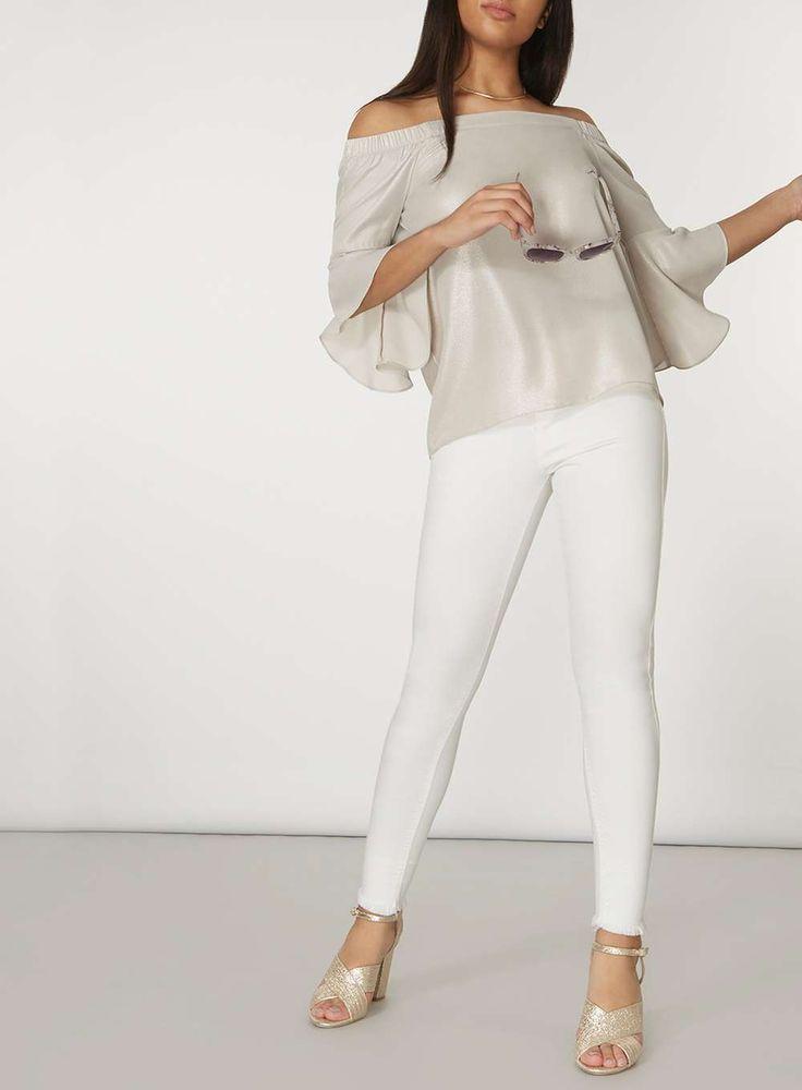 Womens Silver Shimmer Flute Sleeve Bardot Top- Silver