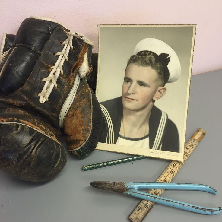 My lovely grandad. #sailor #vintage #stillife #manly #masculine #boxinggloves #grandad