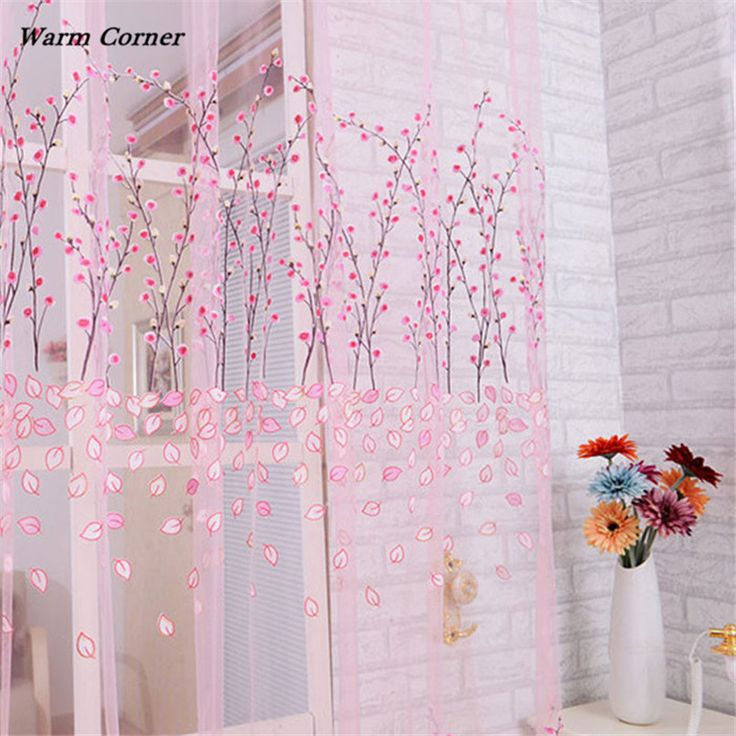 2017 LM  2016 Floral Sheer Tulle Voile Door Curtain Window Room Drape Panel Scarf Valance Free Shipping Sept 2
