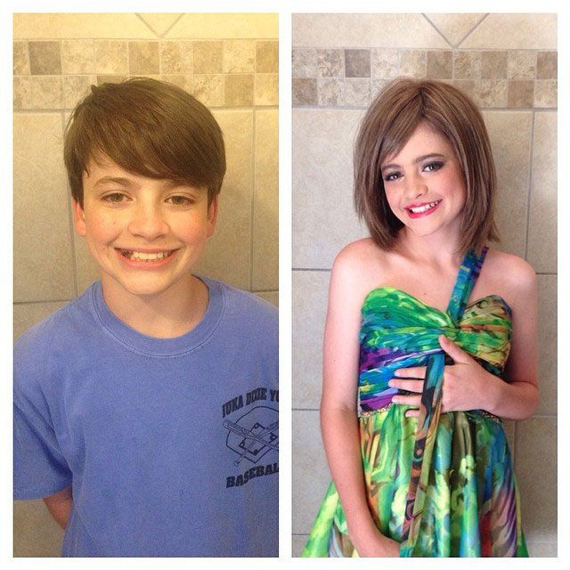 I like this. You can tell he is really enjoying being a girl for a ...
