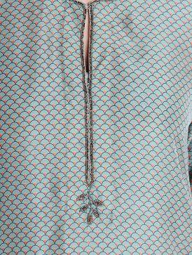 Blue-Pink Cutdana & Pintuck Detailed Habutai Silk Kurta
