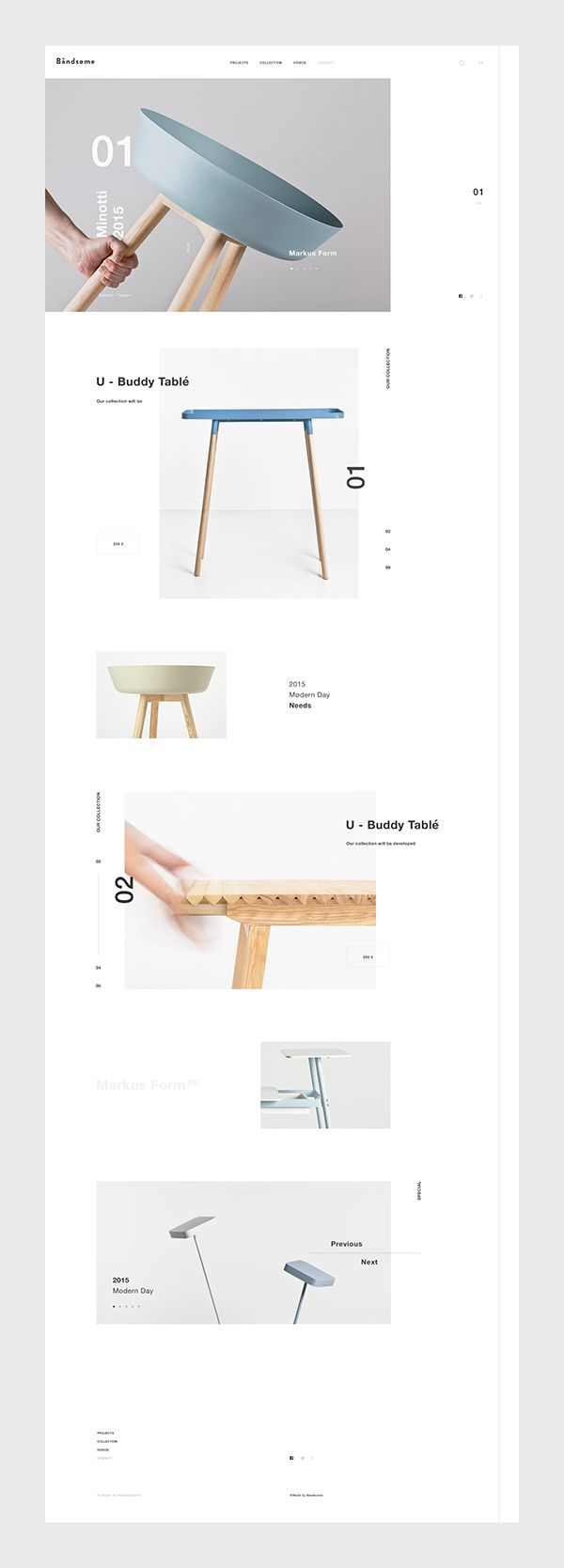 Back to my posts about web design, UI and UX. Today I want to feature a project I saw on Pinterest titled Bandsøme and it's a web site for a modern furniture design store.