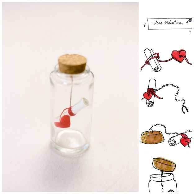 Message in a Bottle | 40 Unconventional DIY Valentine's Day Cards  | followpics.co