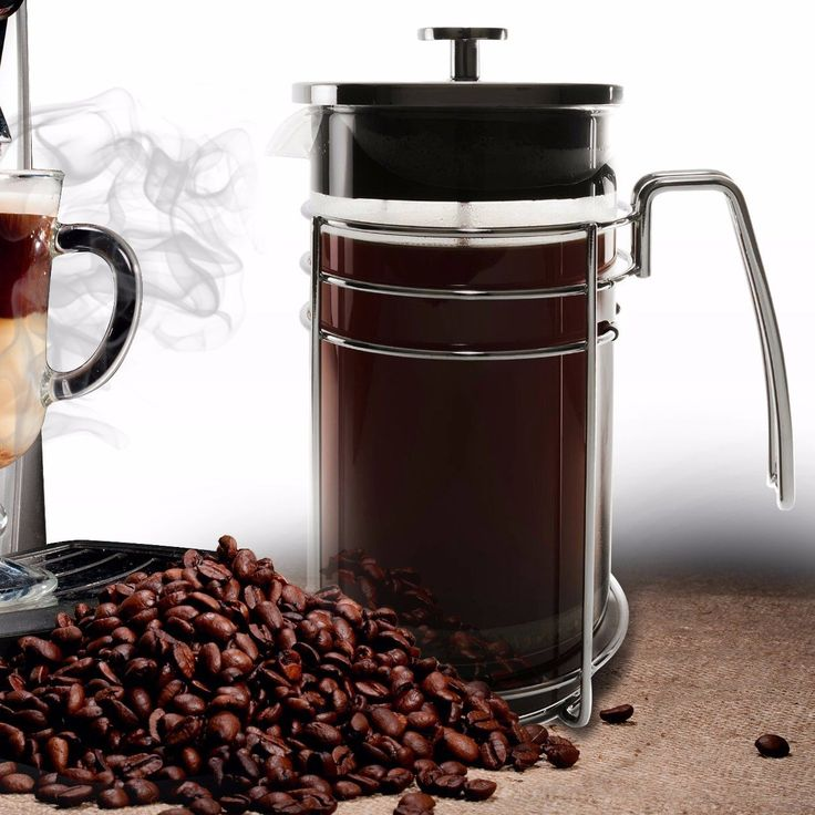 Bruntmor KRATER 8 Cup (34 Oz) Modern French Press Coffee and Tea Maker with 3 Bonus Filter Screens, Best Coffee Press Pot with Stainless Steel Plunger & Borosilicate Heat & Shock Resistant Glass