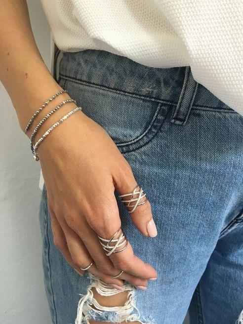Bransoletka / knot / hematyt srebrny / szary jedwabny sznurek - Selfie Jewellery - Sklep Internetowy