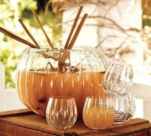 Pottery Barn Pumpkin Punch Bowl & Glasses