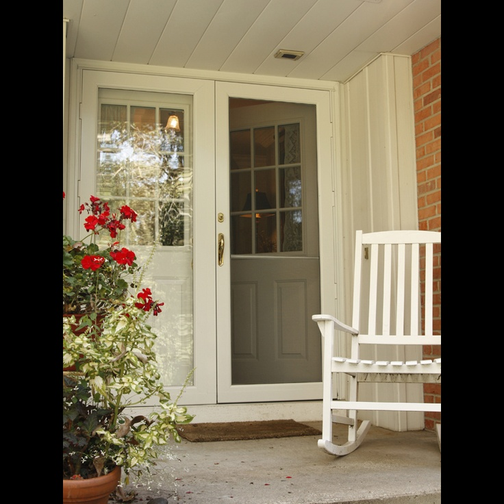 Another great double storm door entryway moms house for Double entry storm doors