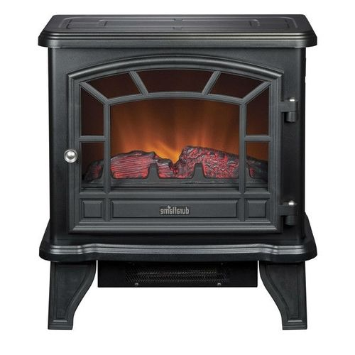 Traditional Style Black Metal 400-Square Foot Electric Fireplace Space Heater