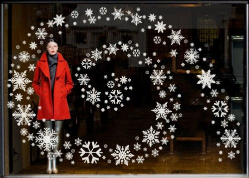NO-space-required display, good for the holidays and on, until you start featuring resort in January (and even then, you could replace the snowflakes with happy-face suns...)