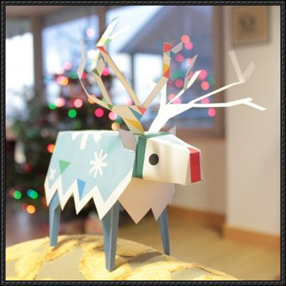 Christmas Papercraft - Tearaway Elk Free Paper Toy Download