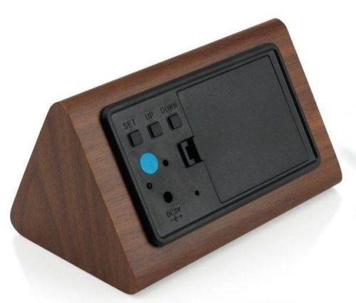 Modern Wood Digital LED Desk Alarm Clock Thermometer Timer Calendar Decor