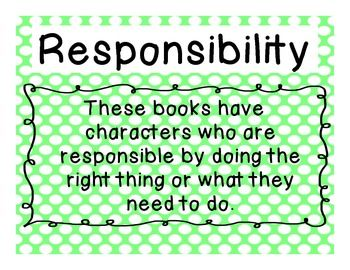 Poster set of book themes: acceptance, friendship, compassion, courage, cooperation, kindness, honesty, thankfulness, perseverance, and responsibility.
