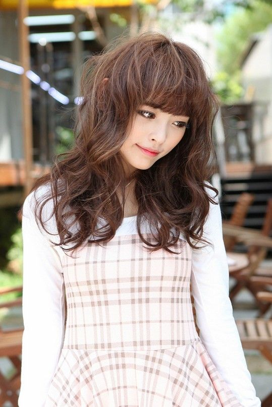 2013 Sweet Japanese Long Hairstyle for Girls: Red Wavy Hair with Bangs