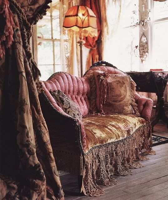 Satin Rose Colored Victorian Couch Velvet Throw With