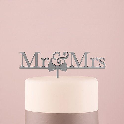 Mr & Mrs Bow Tie Acrylic Wedding Cake Topper