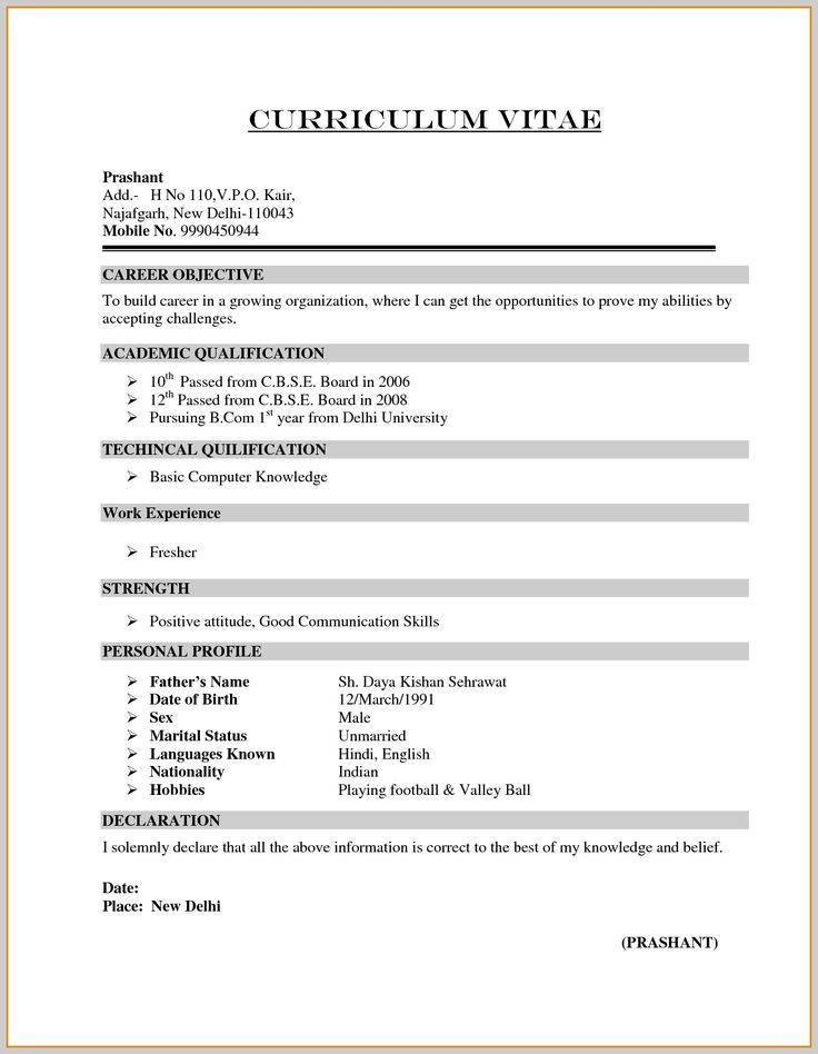Image result for resume format for freshers Sample