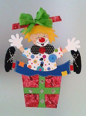 Fensterbild  Clown im Geschenk- Fasching -Karneval -Dekoration - Tonkarton!