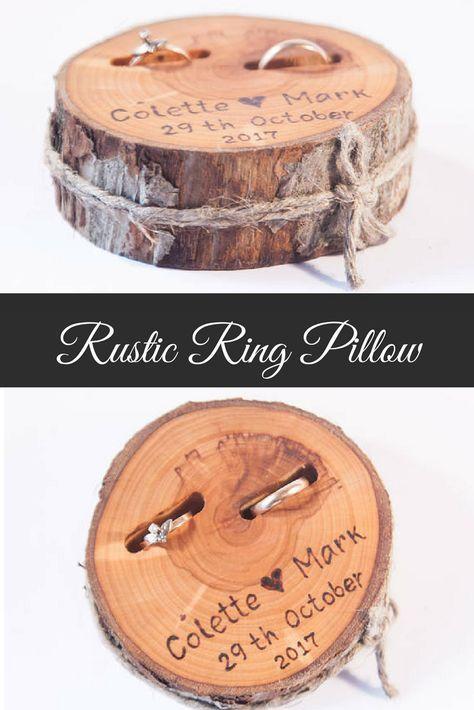 Rustic ring bearer pillow, wedding wood slice, rus…