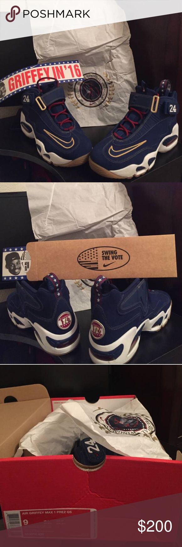 NIKE AIR GRIFFEY MAX GRIFFEY FOR PREZ QUICKSTRIKE The shoes run about a half size small.   Only worn once to take pics in Washington D.C. *see pictures   In near deadstock condition. They have been treated with Crep Protect.   Includes bumper stickers and box  I have the receipt to prove authenticity. Price not quite right? Please make an offer? Nike Shoes Sneakers