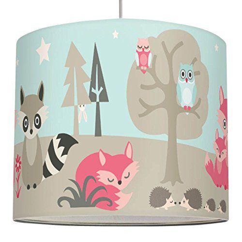 wand Lampenschirm LITTLE WOOD - Schirm für Kinder / Baby Lampe mit Waldtieren in versch. Farben – Sanftes Licht für Tisch-, Steh- & Hängelampe im Kinderzimmer