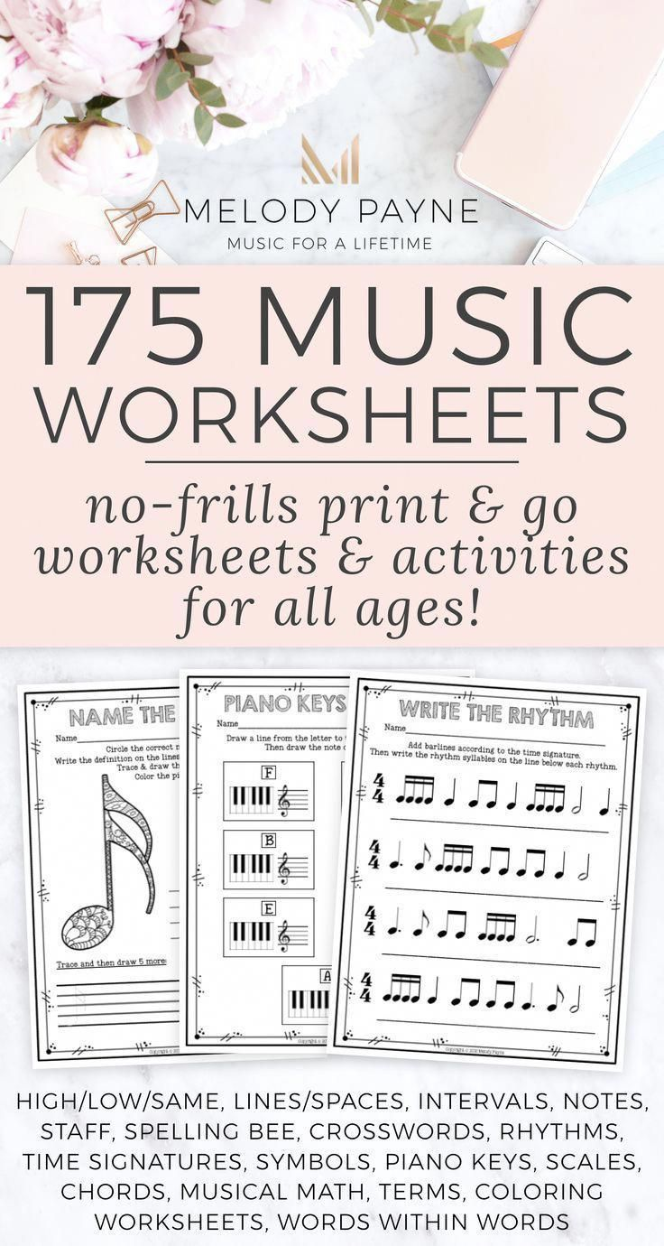 175 Printable No Frills Music Worksheets For Elementary Middle