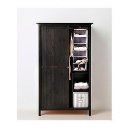 IKEA - HEMNES, Wardrobe with 2 sliding doors, black-brown, , Made of solid wood, which is a durable and warm natural material.Perfect for folded as well as long and short hanging clothes.If you want to organize inside, you can complement with interior accessories from the SVIRA series.