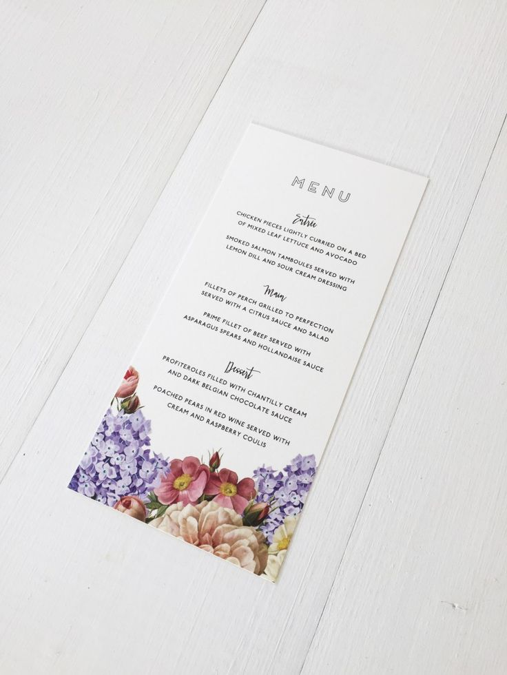 WINTERWOODS DESIGN / GARDEN WEDDING STATIONERY / MENU