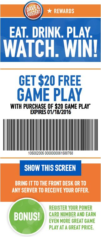 Dave & Buster's - DetailsCash Back · Save Time · Redeem Online · Weekly Deals.