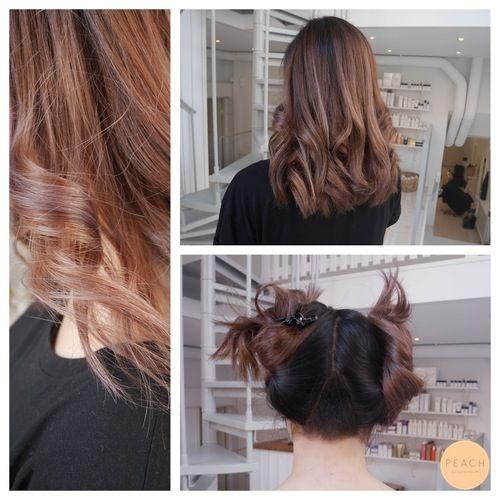 Brunt hår med pastell lila ton och undercut