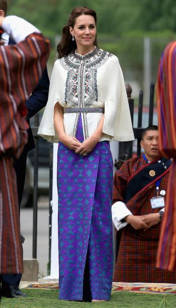 Kate Middleton in a Paul & Joe cape coat - The Duke and Duchess of Cambridge Visit India and Bhutan - Day 5 - April 14, 2016