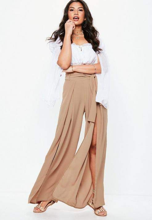 ce1cc163f1c Tall Blush Extreme Split Belted Wide Leg Trousers  belted leg Tall ...
