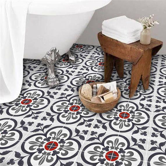 Vinyl Floor Tile Sticker Floor Decals Corona Hand Painted Tile