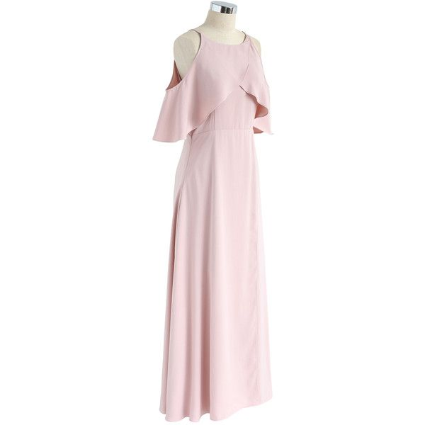 Chicwish Sylphlike Pink Cold-Shoulder Maxi Dress ($60) ❤ liked on Polyvore featuring dresses, cut-out shoulder dresses, sparkly slip dress, pink slip, pink maxi dress and chicwish dresses