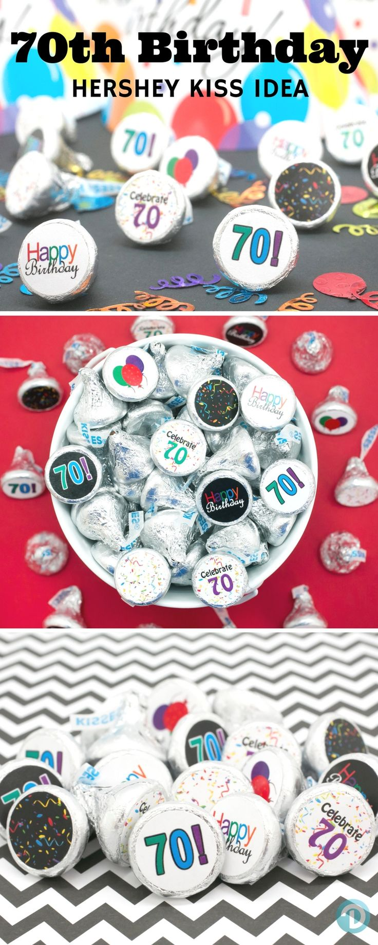 Create memories with these Happy 70th Birthday Favor stickers by simply peeling and stick on Hershey Kisses for a simple and easy party favor or table decoration everyone will enjoy!