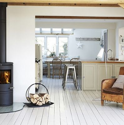 Brabourne Farm: Love .... Kitchen Stools, white painted floor
