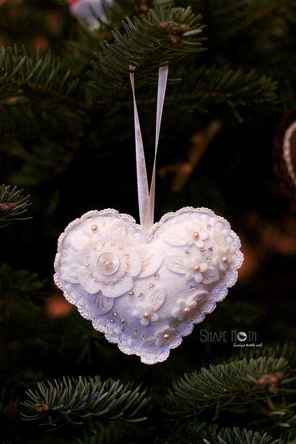 Felt heart ornament | by ShapeMoth via Flickr ......... white on white!