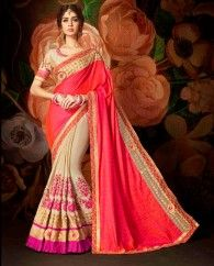 Pink and beige silk & chinon half and half sari. This sari is beautified with floral thread embroidery and heavy lace border. It comes with a matching banglori silk unstitched blouse. This sari measures 5.50 meter, including a 0.8 meter blouse piece.