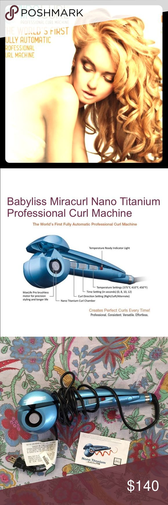 NEW Babyliss PRO MiraCurl Hair curling machine! This new hair curling machine offers the newest in steam technology to give the longest lasting, shiniest, most perfectly formed curls. Not only better curl formation and definition, but literally has 24 HOUR HOLD!😆 Get the smoothest and shiniest curls possible with this genuine Nanotitanium MiraCurl machine by Babyliss PRO. Used only two times! See other fabulous new MiraCurl styling products in my closet as well! Babyliss MiraCurl PRO Other