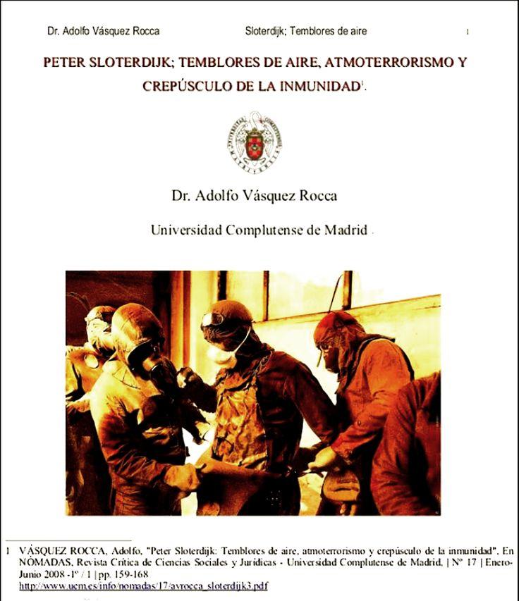 LIBRO: SLOTERDIJK: LA ÚLTIMA ESFERA;   ATMOTERRORISMO, 'MEMORIAS DEL SUBSUELO' Y CIENCIA AMPLIADA DE INVERNADEROS. Dr. Adolfo Vásquez Rocca