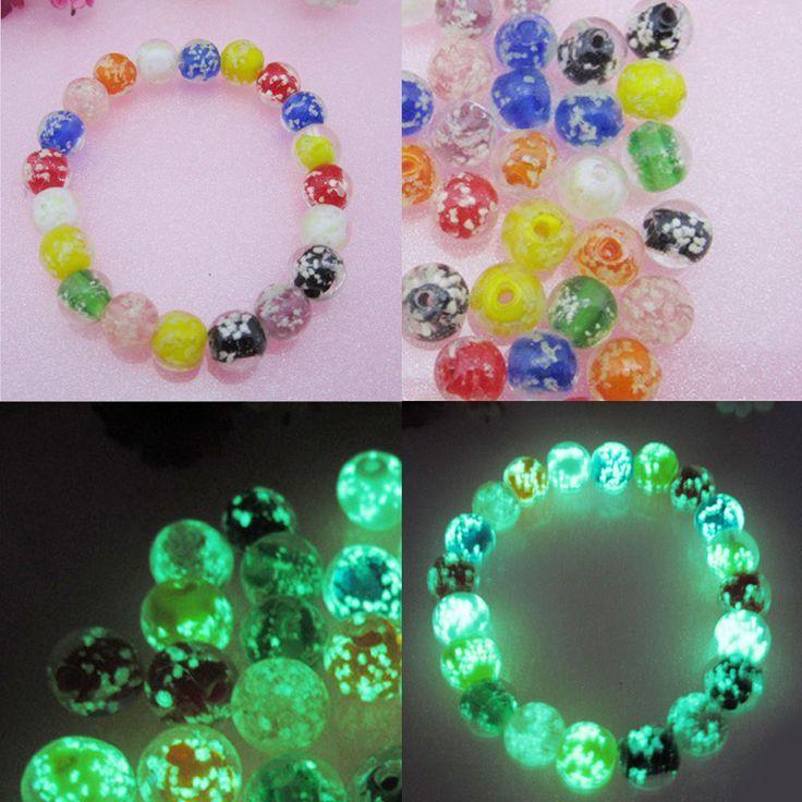 50/100 stücke 10mm leuchtende kristallglas runde lose perlen machen schmuck handwer