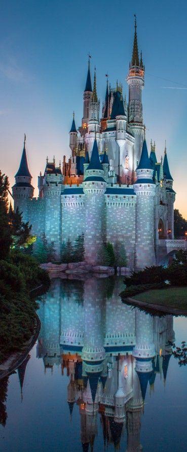 Cinderella Castle at sunrise in the Magic Kingdom, Walt Disney World, FL,