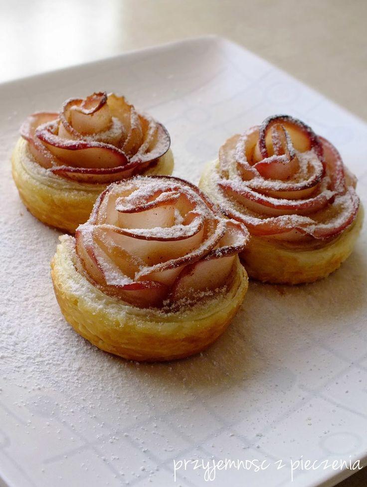 Jabłkowe róże,ciasto francuskie z jabłkami,róże z jabłek