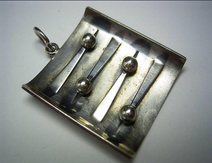 Elis Kauppi for Kupittaan Kulta, Sterling silver vintage modernist square pendant with spheres. #Finland