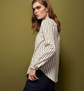 Massimo Dutti Women's STRIPED SHIRT WITH INSERTION LACE DETAIL  Earthy Colours