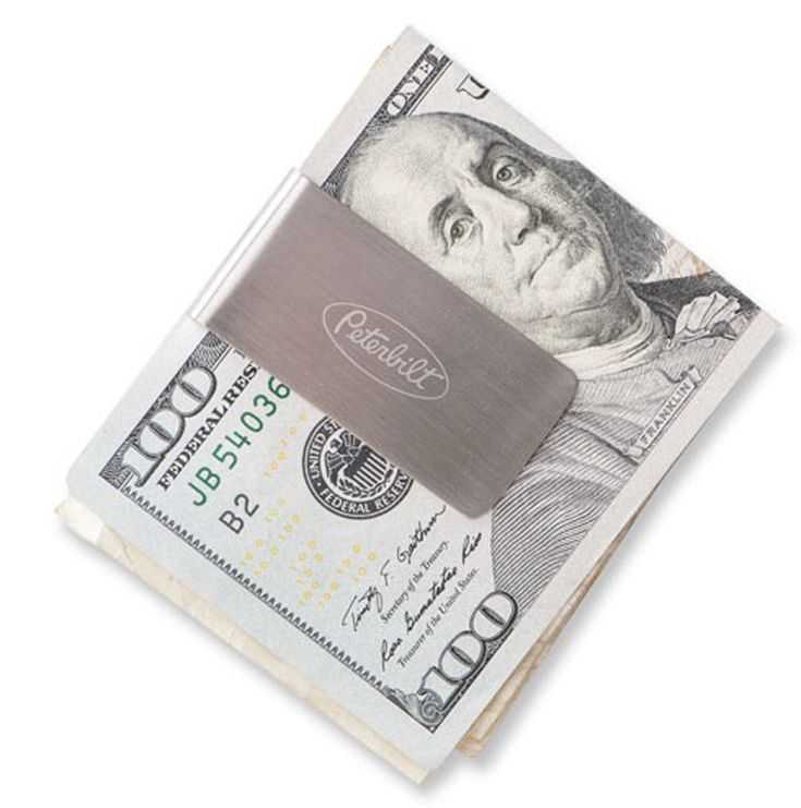 Peterbilt Motors Trucks Zippo Brushed Silver Engraved Money Clip - Peterbilt MERCHANDISE - Peterbilt Money Clips