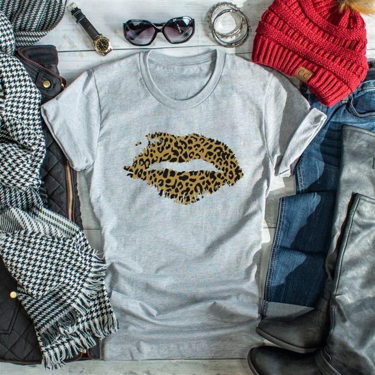 Leopard Girl Tees Short Tops Lips Shirt Girls Tees