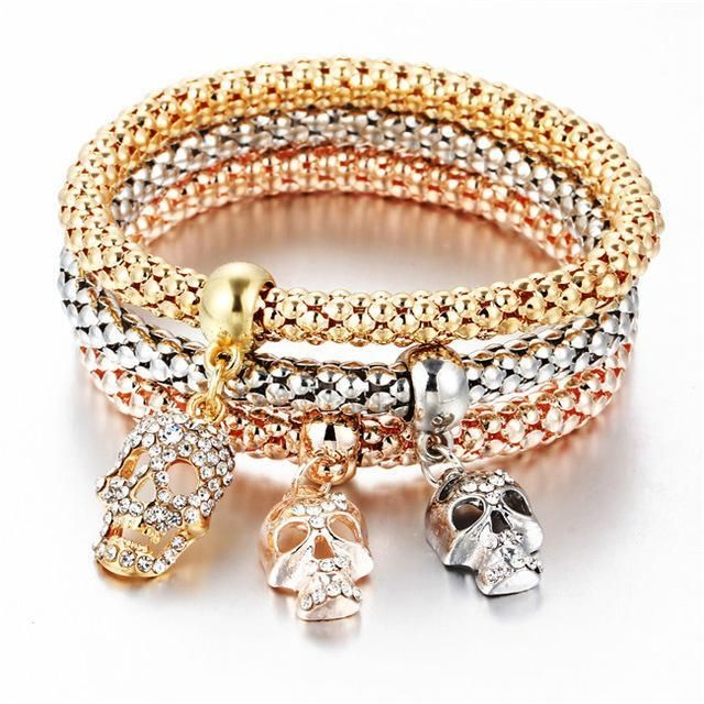 3 PCS/Set Gold Crystal Skull Bracelet & Bangle For Women