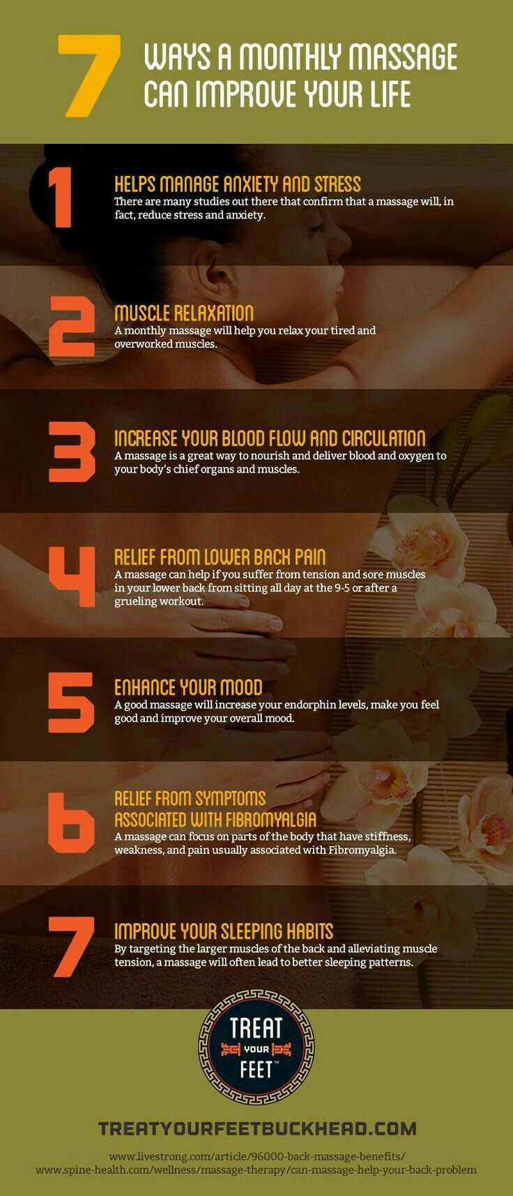 7 Ways a Monthly Massage Can Improve Your Life #anxietyproblems #stress #pain #moodchanger #sleeptherapy www.sportsmassageinpensacolafl.com