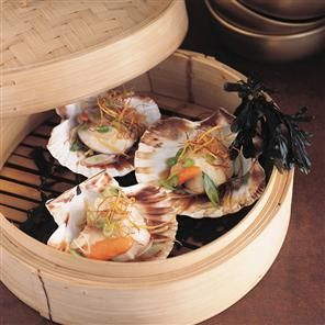 Scallops steamed on the shell with ginger and soy sauce