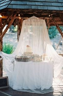 Use a netted canopy to keep bugs out of desserts and cake. | 32 Totally Ingenious Ideas For An Outdoor Wedding